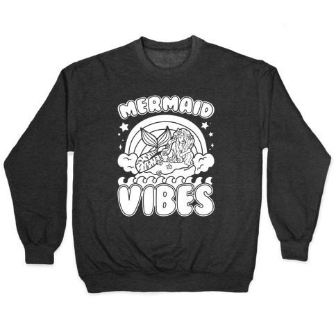 Mermaid Vibes Coloring Book Style Shirt White Print Pullover