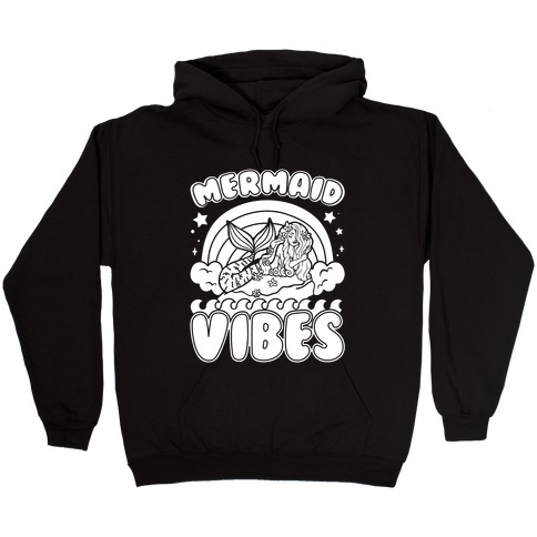 Mermaid Vibes Coloring Book Style Shirt White Print Hooded Sweatshirt