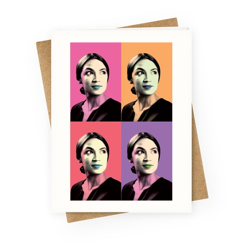 Alexandria Ocasio-Cortez Pop Art Parody Greeting Card