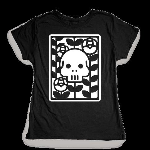Flower Skull White Womens T-Shirt