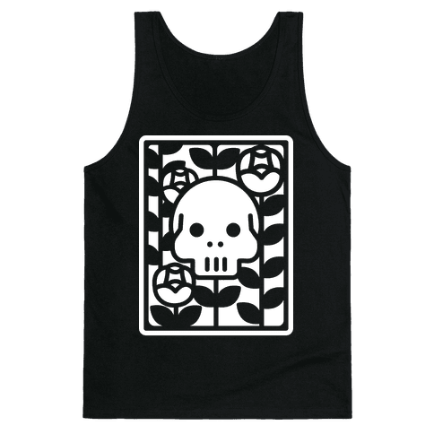 Flower Skull White Tank Top