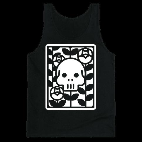 Flower Skull White Tank Top