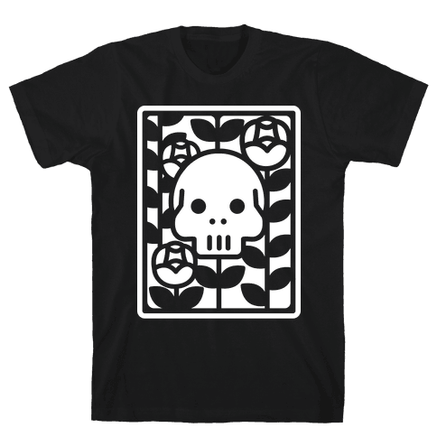 Flower Skull White Mens T-Shirt