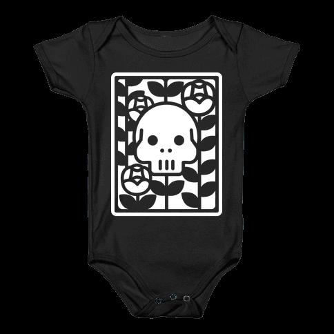 Flower Skull White Baby Onesy