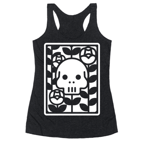 Flower Skull White Racerback Tank Top
