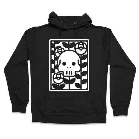 Flower Skull White Hooded Sweatshirt