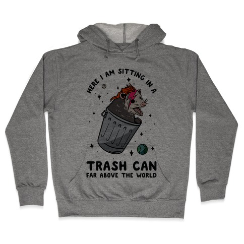 Here I am Sitting in a Trash Can Far Above the World Opossum Hooded Sweatshirt