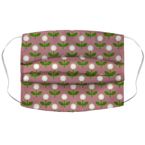 Dainty Retro Dandelions Pink Pattern Accordion Face Mask