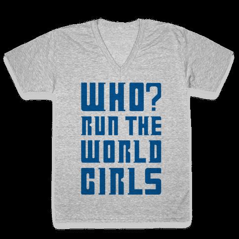 Who Run The World Girls Doctor Who Parody V-Neck Tee Shirt