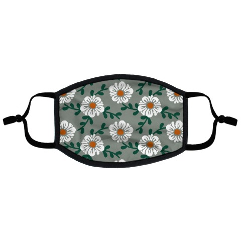 Retro Flowers and Vines Grey Flat Face Mask