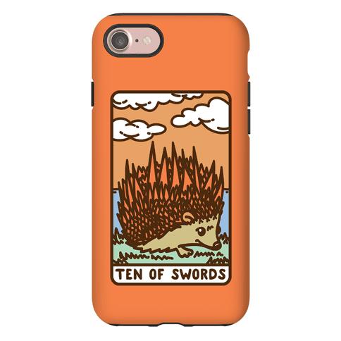 Ten of Swords HedgeHog Tarot Parody Phone Case