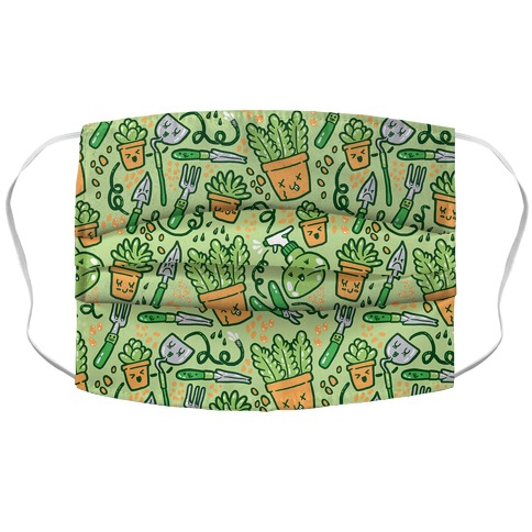 Kawaii Plants and Gardening Tools Accordion Face Mask