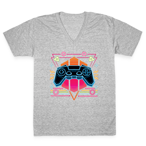 Synthwave Gamer V-Neck Tee Shirt
