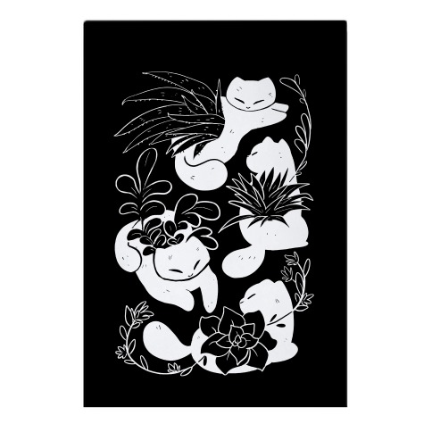 Succulent Cats On Black Garden Flag