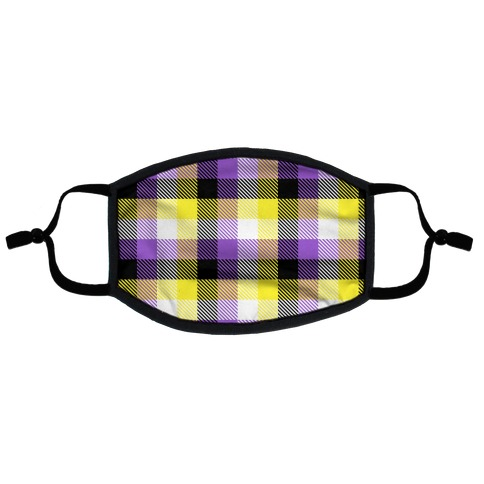 Nonbinary Pride Flag Plaid Flat Face Mask
