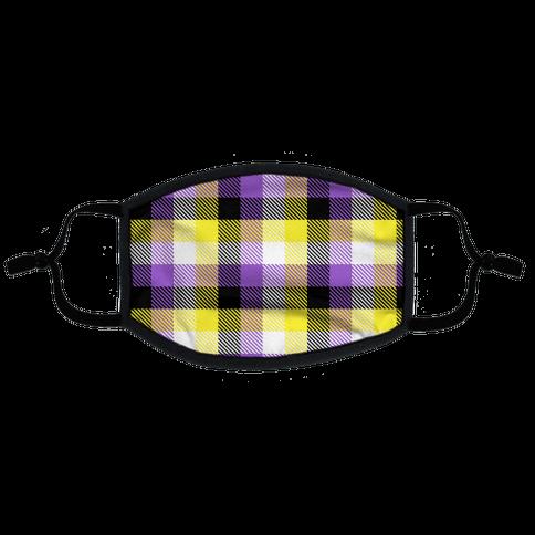 Nonbinary Pride Flag Plaid Flat Face Mask