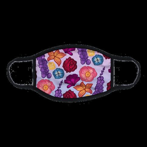 Flowery Pattern Flat Face Mask