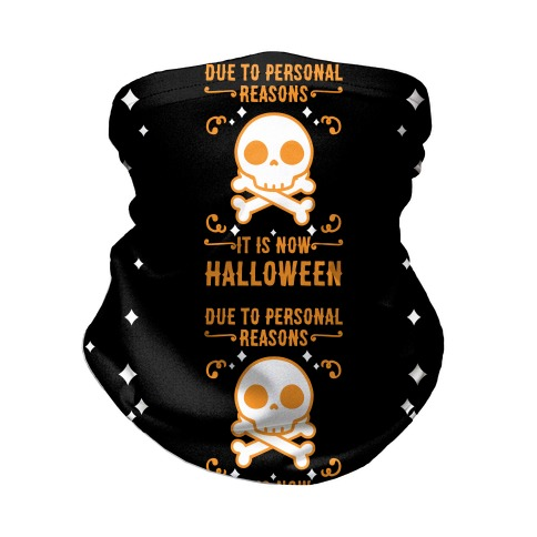 Due To Personal Reasons It Is Now Halloween Skull (Orange) Neck Gaiter