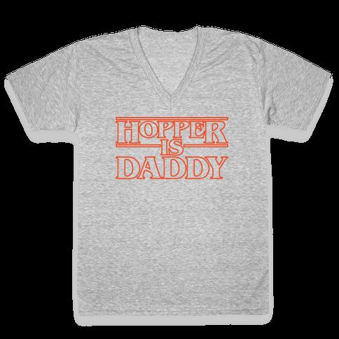 Hopper Is Daddy Parody White Print V-Neck Tee Shirt
