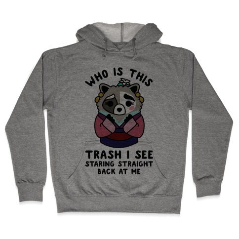 Who Is This Trash I See Staring Straight Back at Me Raccoon Hooded Sweatshirt