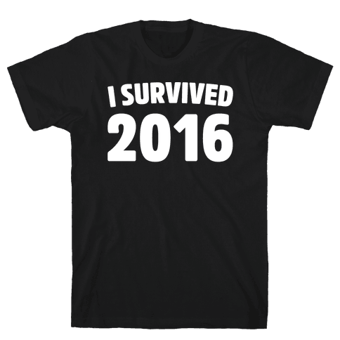 I Survived 2016 White Print  Mens T-Shirt