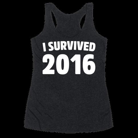 I Survived 2016 White Print  Racerback Tank Top