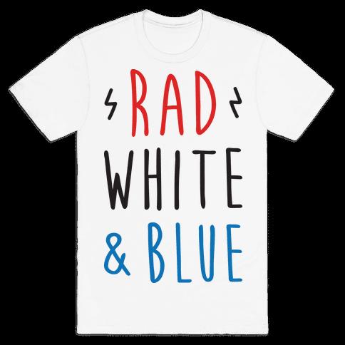 Rad White & Blue Mens T-Shirt