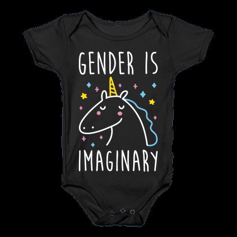 Gender Is Imaginary Unicorn Baby Onesy