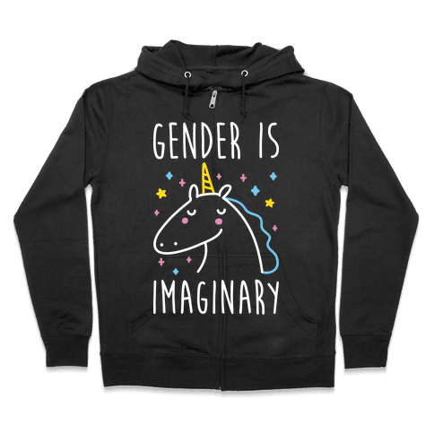 Gender Is Imaginary Unicorn Zip Hoodie