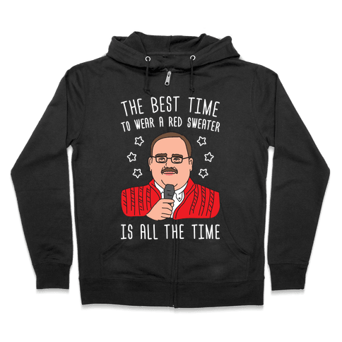 Ken Bone Red Sweater Zip Hoodie