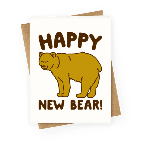 Happy New Bear Greeting Card
