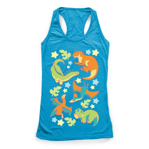 Funky Dinosaur Friends Racerback Tank Top