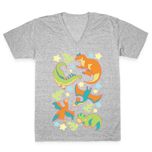 Funky Dinosaur Friends V-Neck Tee Shirt