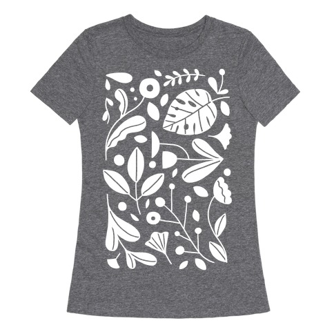 Black and White Plant Pattern Womens T-Shirt