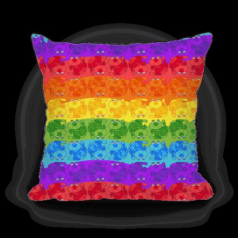 Rainbow Pride Frogs Pillow