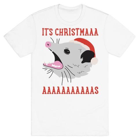 It's Christmas Screaming Opossum T-Shirt