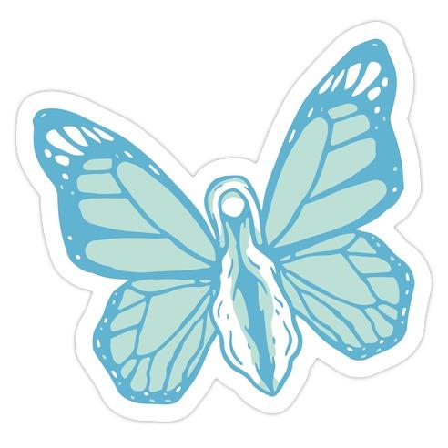Blue Butterfly Vagina Die Cut Sticker