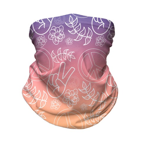 Hippie Peace Pattern Sunset Off White Gradient Neck Gaiter