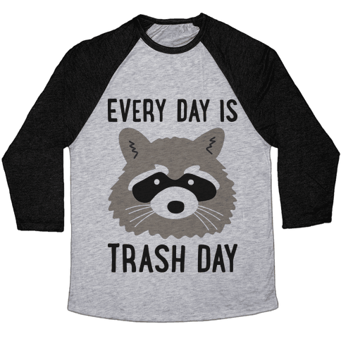 Every Day Is Trash Day Raccoon Baseball Tee