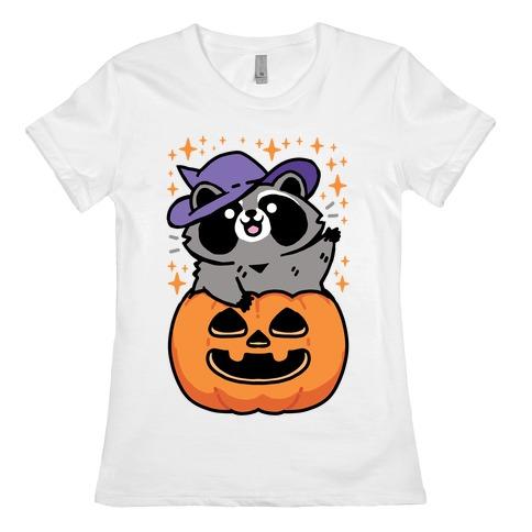 Cute Halloween Raccoon Womens T-Shirt