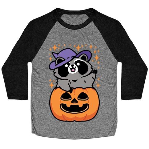 Cute Halloween Raccoon Baseball Tee