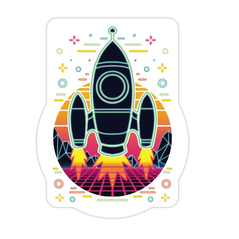 Synthwave Space Exploration Die Cut Sticker