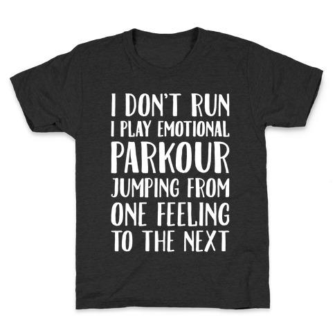 Emotional Parkour Funny Running Parody White Print Kids T-Shirt