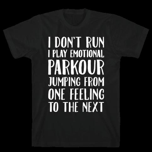 Emotional Parkour Funny Running Parody White Print Mens T-Shirt