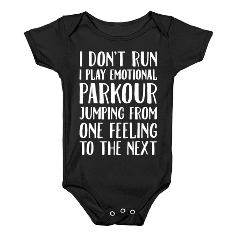 Emotional Parkour Funny Running Parody White Print Baby Onesy