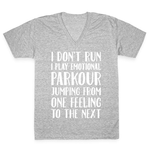 Emotional Parkour Funny Running Parody White Print V-Neck Tee Shirt