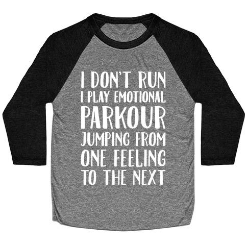 Emotional Parkour Funny Running Parody White Print Baseball Tee