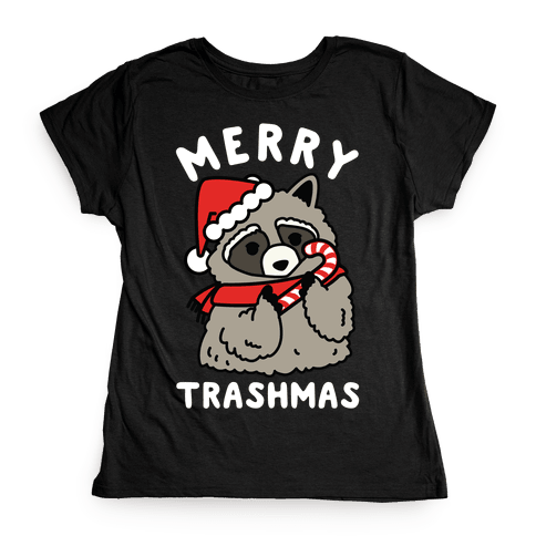 Merry Trashmas Raccoon Womens T-Shirt