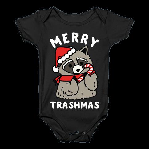 Merry Trashmas Raccoon Baby Onesy