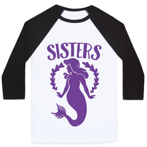 Mermaid Sisters (Purple) Baseball Tee